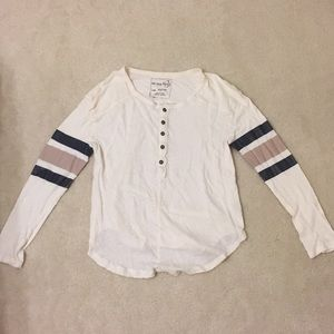 Free People Creme top long sleeve stripes